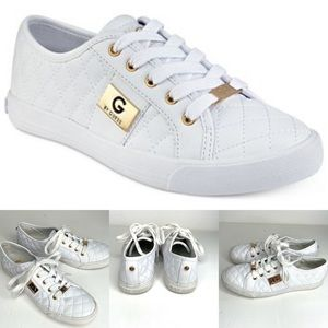 Guess white Lace-Up Quilted Sneakers